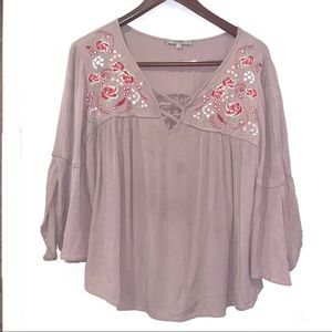 Miss Me boho criss-cross embroidered blouse